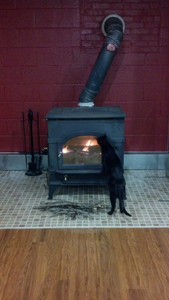 Eva checking out the first fire in the wood stove